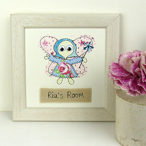 Personalised Fairy Embroidered Plaque - mixed media pictures for children