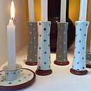 Set Of Two Handmade Earthenware Candlesticks