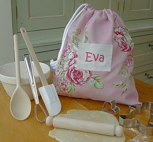 Personalised Child's Floral Baking Set