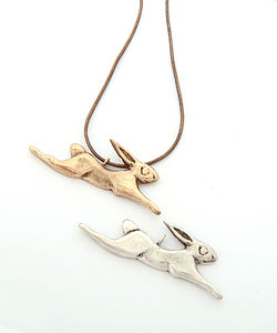 Bronze Or Silver Hare Necklace