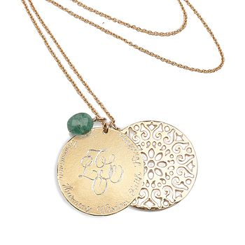 Engraved pendant with lace flower disc, emerald drop on chain
