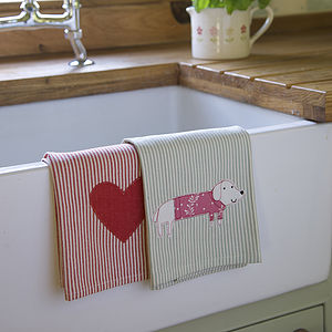Pack Of Two Embroidered Tea Towels