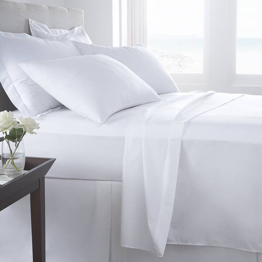 white bed sheets. Vermont White Organic Cotton 200 Tc Percale Bed Linen Sheets