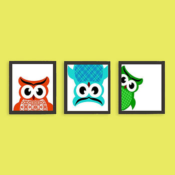 Owls Hide And Seek Nursery Art Print