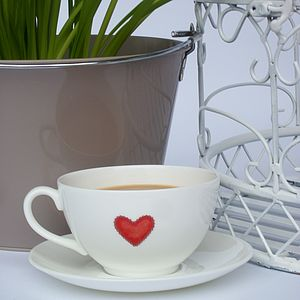 Fine Bone China Heart Cup And Saucer