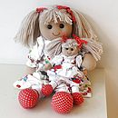 Retro rag doll with mini doll