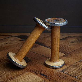 Wooden Bobbin Candle Stick