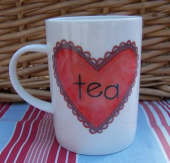 Bone China Heart Mug