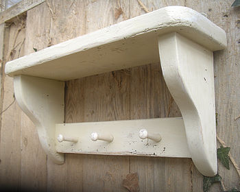 Handmade Antique Wood Hook Shelf