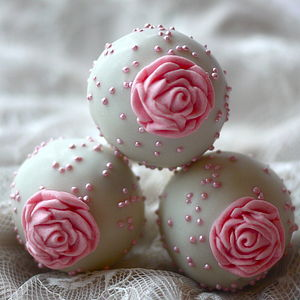 Eight Wedding Rose Cake Pops - pastels and gold