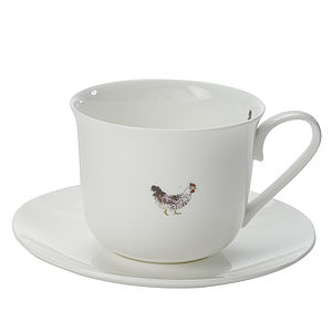 Chicken China Tea Cup And Saucer - kitchen