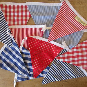 Boys Red Blue Bunting - Can Be Personalised - children's room accessories