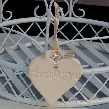 Wine Bottle Ceramic Hanging Heart