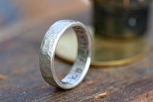 Personalised Petite Hammered Ring