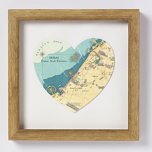 Dubai Map Heart Print - shop by price