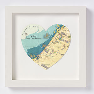 Dubai Map Heart Print - personalised