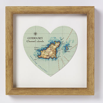 Guernsey Map Heart Print
