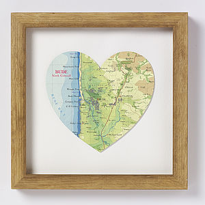 Bude Map Heart Print