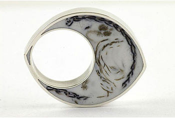 Handmade Silver, White Resin And Wool Ring