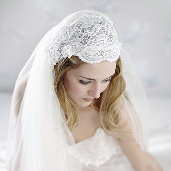 Liliana Lace Beaded Bridal Juliet Cap