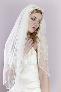 Gwyneth Lace Trim Silk Wedding Veil