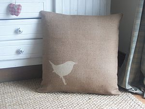 ' Rustic Wren ' Floor Cushion - patterned cushions
