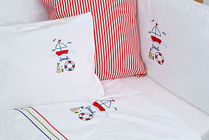 Embroidered Cot Sheets - baby's room