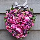 Silk Peony Rose And Lupin Vine Heart