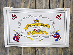 Diamond Jubilee Hand Illustrated Tea Towel - kitchen accessories