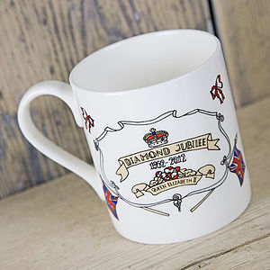 Diamond Jubilee Hand Illustrated Mug - crockery & chinaware