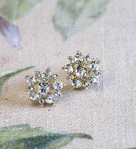 Bianca Diamante Flower Stud Earrings - earrings