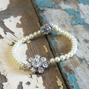 Pearl And Diamante Flower Bracelet