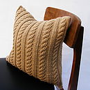 Hand Knit Cable Cushion In Ecru