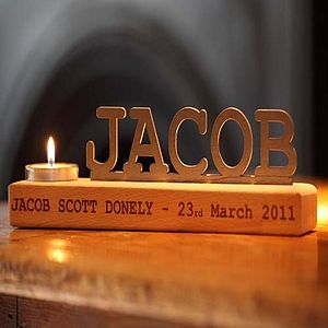 Personalised Name And Date Tea Light Holder - candles & candlesticks