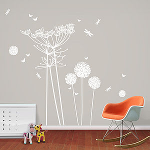 White Dandelions And Cowparsley Wall Stickers - bedroom