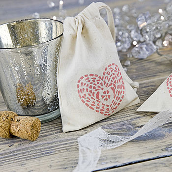 Printed Heart Wedding Favour Bag