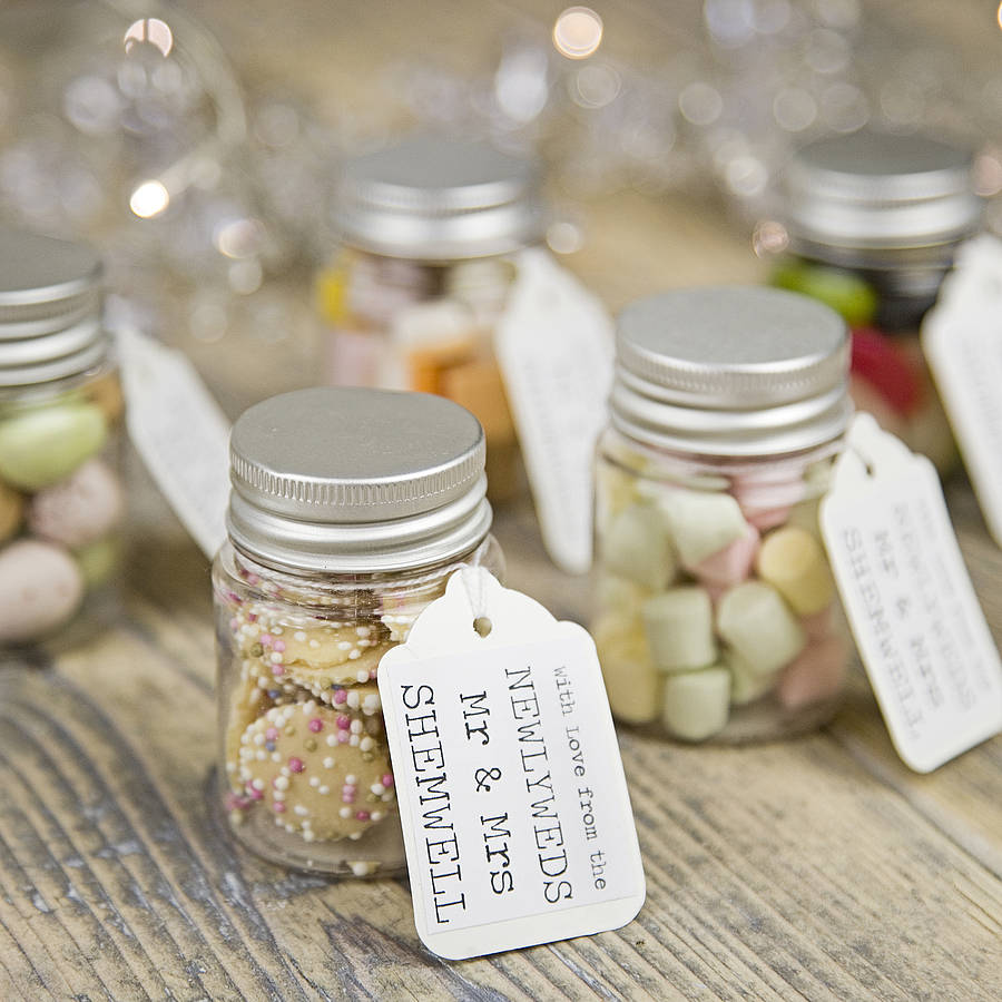 personalised wedding favour sweetie jar by 3 blonde bears