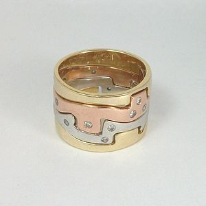 Gold Four Piece Jigsaw Ring With Diamonds - gifts for her
