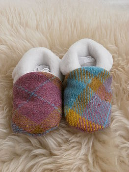 Harris Tweed Baby Booties
