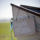 Wooden 'Gone Fishing' Sign