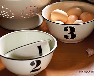 Set Of Three Numbered Enamel Bowls - kitchen accessories