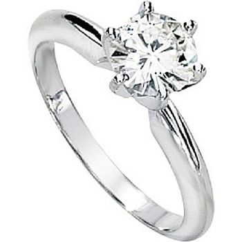 White Gold Six Prong Solitaire Ring