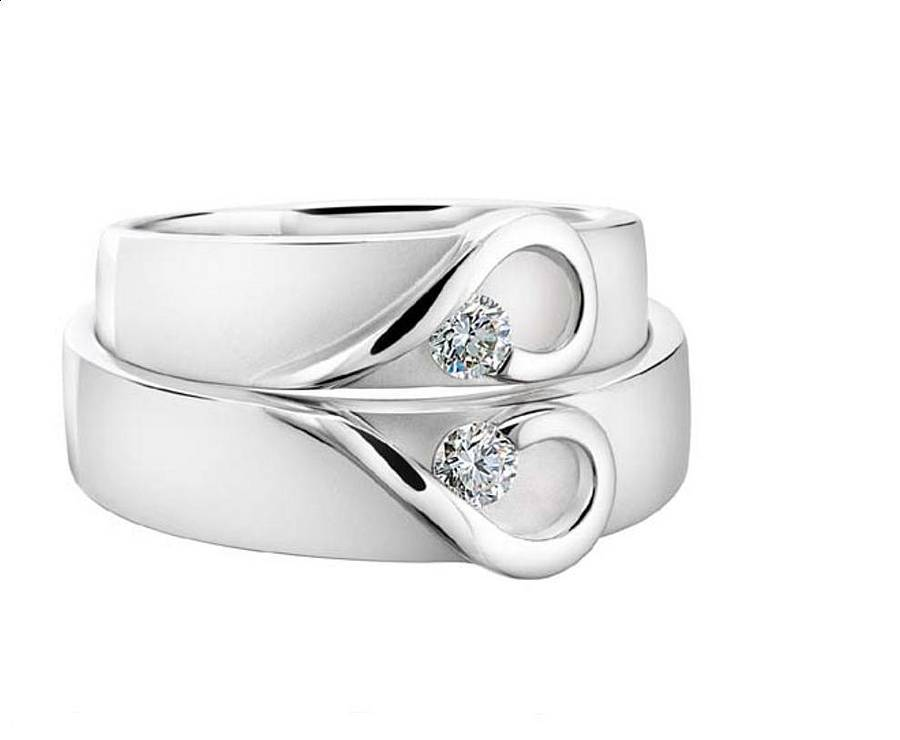 His and hers platinum heart wedding bands by diamond affair his and hers platinum heart wedding bands junglespirit Gallery