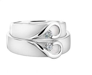 His And Hers Platinum Heart Wedding Bands - rings
