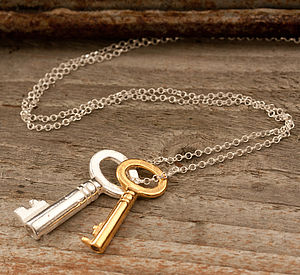Gold And Silver Vintage Keys Necklace - birthday gifts