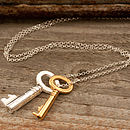Gold And Silver Vintage Keys Necklace