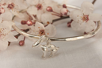Silver Rabbit Charm Bangle