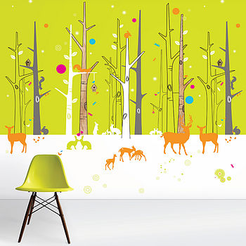 Citrus Woodland Friends Wallpaper