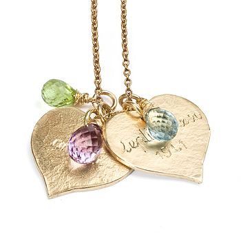 Engraved 9ct yellow gold hearts with peridot, amethyst and blue topaz briolettes on gold plated cable chain