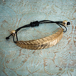 Georgina Feather Bracelet In Gold Or Silver - bracelets & bangles